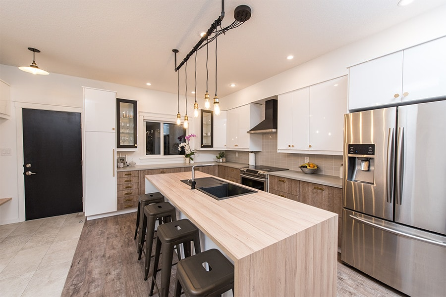 Spacious kitchen with island and modern fixtures