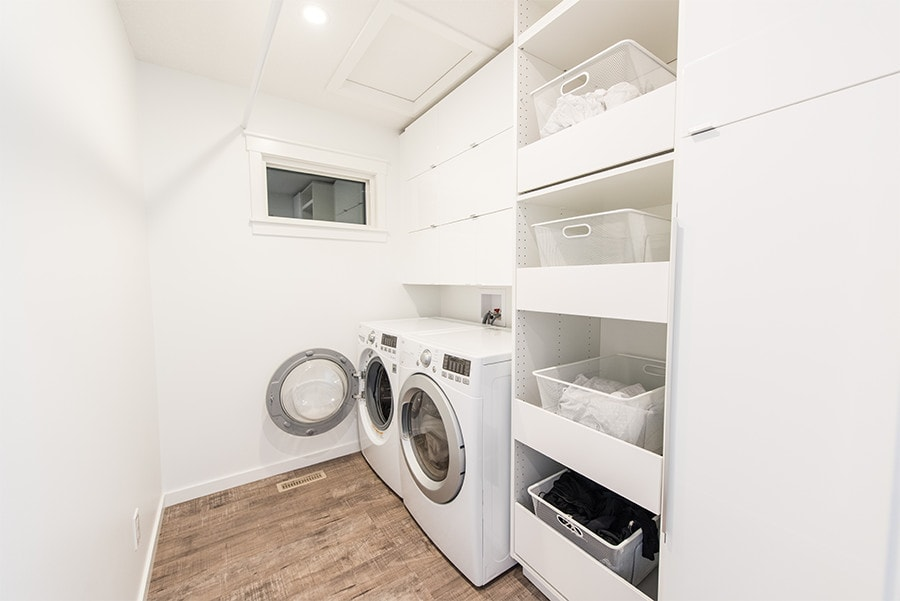vibrant upstairs laundry