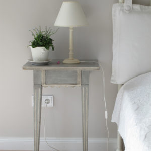 white side table bedroom